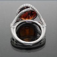 Mandarin Garnet Ring with Diamonds - back