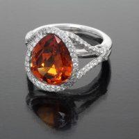 Mandarin Garnet Ring with Diamonds - front
