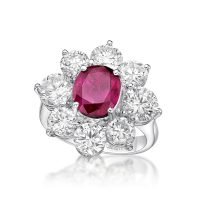 Ruby Oval Ring with Diamonds - front