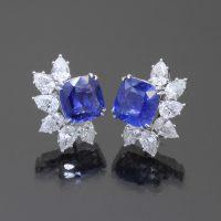 Safir Kissen Ohrringe mit Diamanten - Vorderseite