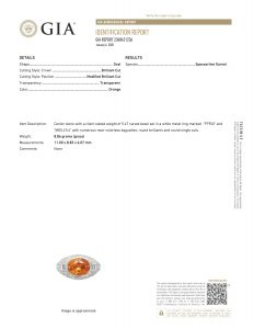 Mandarin garnet ring GIA certificate