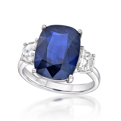 Burmese sapphire cushion no heat ring by Caram