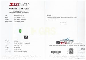 Emerald octagon Colombia 3.70 cts_certificate
