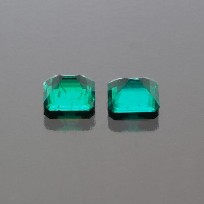 Emerald octagon Pair 2.29 cts Muzo Colombia by Caram_back view