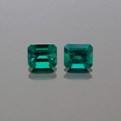 Emerald octagon Pair 2.29 cts Muzo Colombia by Caram_front view