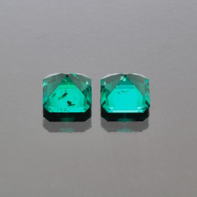 Emerald octagon Pair 2.45 cts Muzo Colombia by Caram_front view