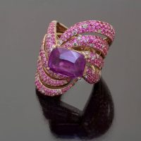 Pink sapphire cushion ring no heat by Caram