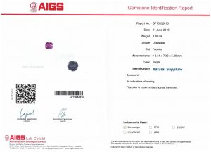 Lavender sapphire ocatagon_Caram_certificate