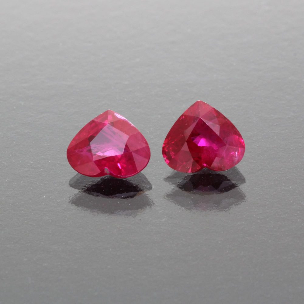 Pair of burmese ruby hearts by Caram_front view