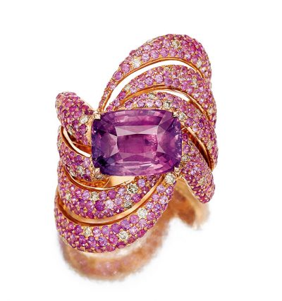 Pink sapphire cushion ring by Caram