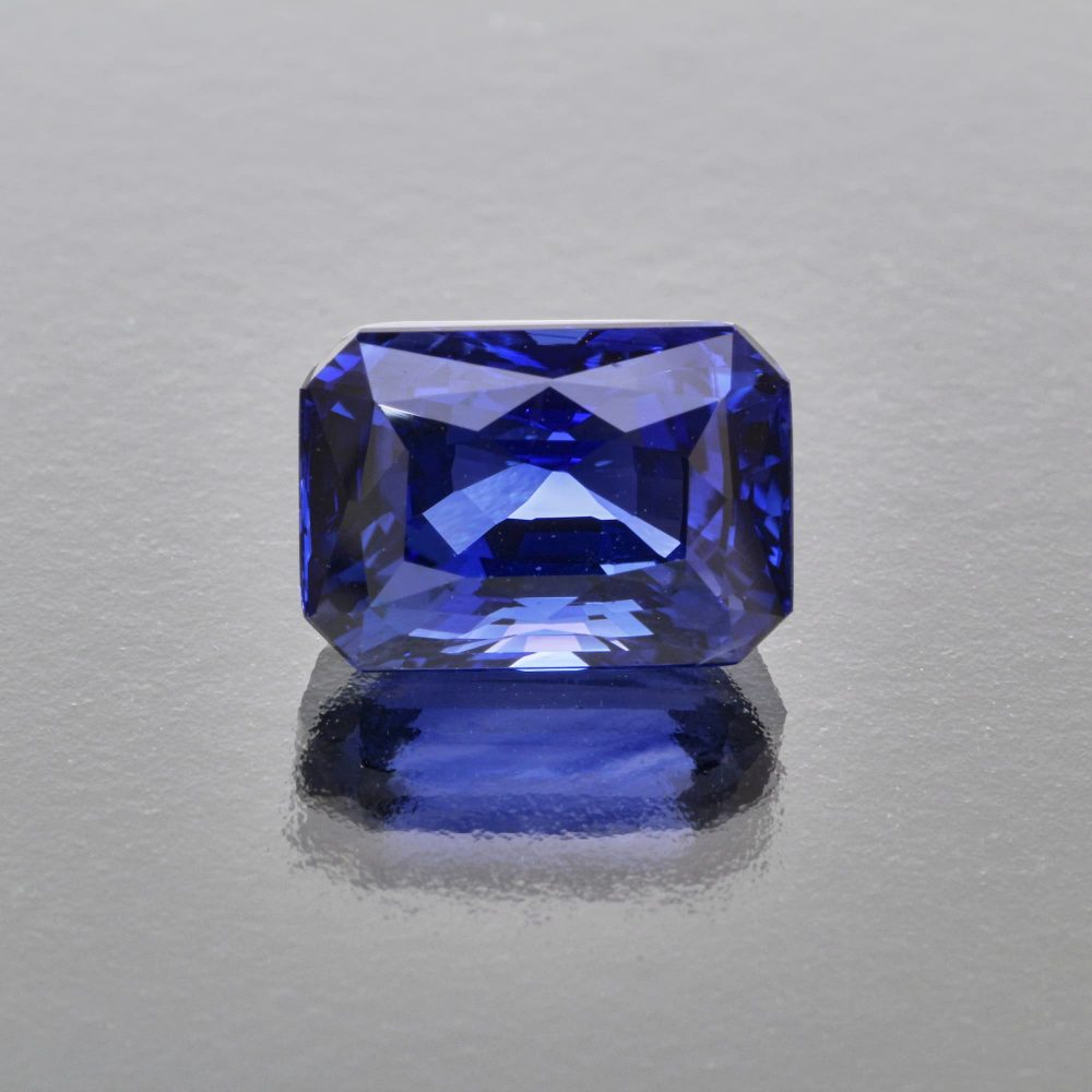 Royal blue sapphire octagon by Caram_front view