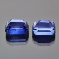Royal blue sapphire octagon pair 22 cts Caram_back view