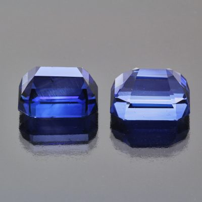 Pair of royal blue sapphire octagons by Caram_back view