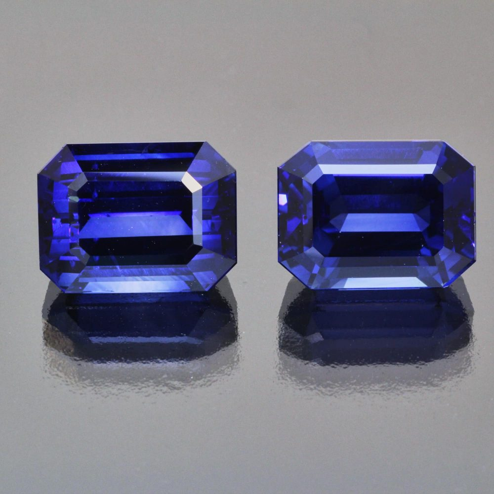 Pair of royal blue sapphire octagons by Caram_front view
