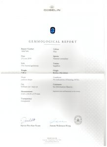 Sapphire Burma cushion ring by Caram certificate