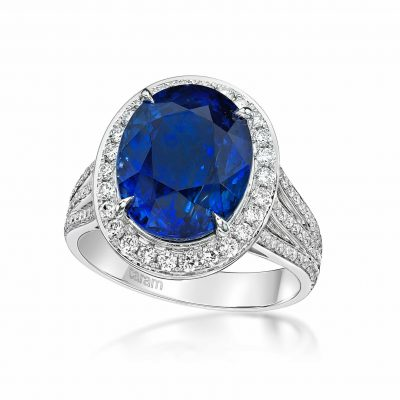 Sapphire oval ring with diamond triple shank by Caram