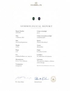 Alexandrite oval 3.10 cts_certificate