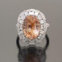 Padparadscha sappihre 9.3 cts ring by Caram_front view