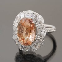 Padparadscha sappihre 9.3 cts ring by Caram_side view